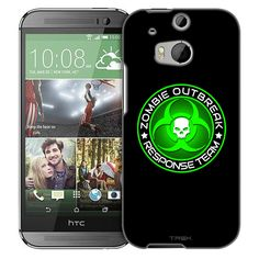 HTC One M8 Zombie OutBreak Response Team Green on Black Slim Case