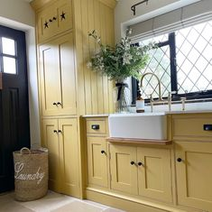 A brilliant showcase of how a utility room can be practical and stylish via Sally of @doneinheels. We love the bold and exciting choice of the Saffron cabinetry from @neptunehome which gives the design a fabulous energy. Product pictured: Ionian mixer and rinse in aged brass #perrinandrowe #yellowhomedecor #brasstaps #utilityroomdesignideas #dreamutilityroom #laundryroomideas #homeinteriors #realhomeinspiration #utilityroomdesign #utilityroomdecor #colourfulutilityroom Utility Room Inspiration, Utility Room Designs, Yellow Home Decor, Be Bold, Carpentry, Sally, Bootroom, Canning, Stylish