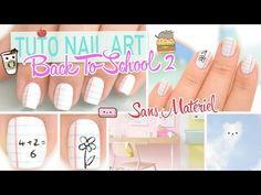 Tuto Nail art Facile (Sans Matériel Spécifique) ♡ Back To School 2 - YouTube