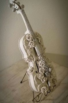 Shabby French Cottage White Antique Violin lightly distressed and Embellished one-of-a-kind. Sold but similar item coming soon on website! Elevated Decor Co by Julie Roberts. See this and more at www.elevateddecorco.com