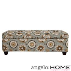 @Overstock - The angelo:HOME Kent bench trunk ottoman with storage was designed  to fit up against a wall while still being able to open the lid easily.  The Kent wall hugger bench storage trunk is covered in a vintage tapestry blue fabric.http://www.overstock.com/Home-Garden/angelo-HOME-Kent-Vintage-Tapestry-Blue-Wall-Hugger-Trunk-Storage-Ottoman/7258492/product.html?CID=214117 $219.99