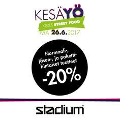 STADIUM -20% kaikista normaali-, jäsen- ja pakettihintaisista tuotteista.  Ei voi yhdistää muihin tarjouksiin, alennuksiin tailahjakorttiostoihin. Tarjous voimassa vain 26.6.2017 Stadium Revontulessa. Tarjous ei koske Team Sales –tuotteita.