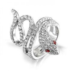 Pave Crystal Twisted Snake Ring Red Garnet Color Eyes