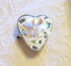 Vintage Silver Heart Pill Box Alpaca Mexico by RosePetalResources, $22.00