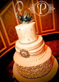 A Touch of Peacock 3-Tier Wedding Cake: WC-50084 | Palermos Bakery