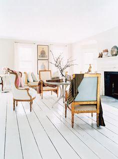 I will have white floors. I will have white floors! White Painted Floors, Painted Hardwood Floors, White Wooden Floor, Wood Flooring, White Flooring, Plywood Floors, Flooring Ideas, White Walls, Home Design