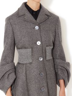 Wool Gathered Sleeve Coat by Prada at Gilt