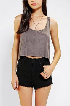 Sparkle & Fade Suede High/Low Cropped Tank Top #croppedtop #urbanoutfitters