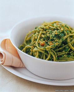 Here's a great way to change up your go-to greens recipe: Spinach Linguine With Walnut-Arugula Pesto Recipe