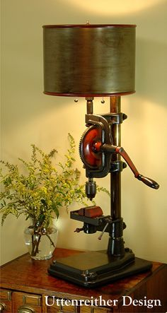 A tool my wife might actually want to show off in the family room! Vintage Rustic Industrial Table Lamp. Repurposed drill press, steampunk decor by Uttenreither Design