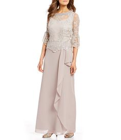 Shop for Le Bos A-Line Bell Sleeve Lace Popover Cascade Long Gown at Dillard's. Visit Dillard's to find clothing, accessories, shoes, cosmetics & more. The Style of Your Life. Mob Dresses, Formal Dresses For Women, Petite Dresses, Formal Evening Dresses, Evening Gowns, Fashion Dresses, Bride Dresses, Women's Fashion, Wedding Dresses