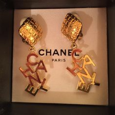 CHANEL CHANEL letters clip back earrings NOTE: These can only be bundled with other eligible CHANEL items. Just ask. I love these earrings! Your style can be overtly CHANEL w/ French twist or wear at work w/ your hair down. These are thick earrings, wearable, because of the foam backs! I really feel that they're much more comfortable with the foam backing. The foam slides on and off, I can leave on or remove. I'll include the Chanel box you see with purchase. No chipping or wear. CHANEL…