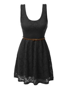 396afa34eb This sleeveless lace crochet flared dress with belt is a must have ! Lovely  floral lace
