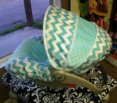 Aqua Chevron with Tiffany Blue Infant Car Seat Cover via Etsy.
