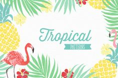 Ad: 6 Vector tropical patterns + Clipart by Inna Moreva on You will get 6 seamless vector tropical patterns with pineapples, palm leaves, hibiscus flowers, flamingo birds and free clip art set! Hibiscus Flowers, Tropical Flowers, Deco Surf, Vektor Muster, Hawaian Party, Flamingo Party, Tropical Pattern, Tropical Party, Summer Patterns