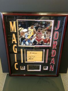 Magic Johnson & Michael Jordan Autographed Finals Floor Display (1991 NBA Finals)