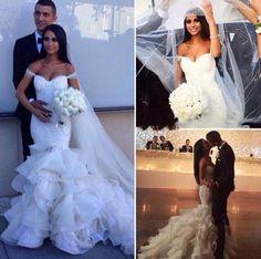 Mermaid-White-Ivory-Wedding-Dresses-Off-Shoulder-Bridal-Gown  $149.46