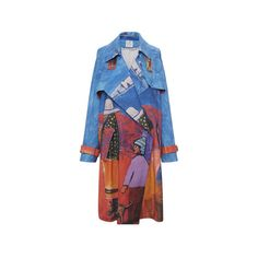 Stella Jean ($1,460) ❤ liked on Polyvore featuring outerwear, coats, stella jean, trench coat, blue trench coat, print trench coat, patterned trench coat and belted trench coat