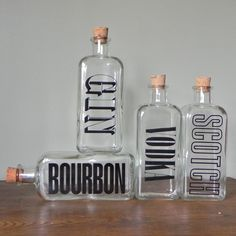 Todo para después | Vintage bar set bottles with graphics mad men era by jollytimeone