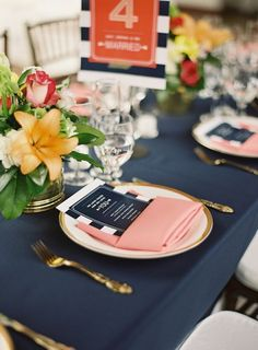 navy tablecloth, coral napkin, white and gold place setting California Wedding, Southern California, Our Wedding, Dream Wedding, Wedding Ideas, Wedding Aisles, Nautical Wedding Inspiration, 100 Layer Cake, Party