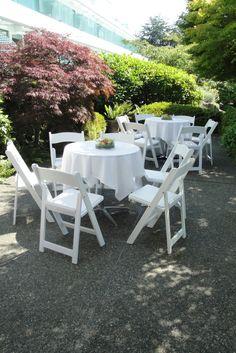 White wedding reception on the patio