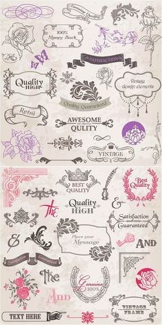 Vintage graphic design elements vector Could the vintage thing work this year? Web Design, Design Art, Floral Design, Logo Design, Vintage Graphic Design, Graphic Design Inspiration, Vintage Designs, Clipart, Photoshop