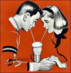 Soda shop love!...1950s graphic cartoon illustration fifties couple holding hands drinking milkshake through a straw