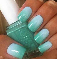 I love this Essie color! Go Essie. Fancy Nails, Love Nails, How To Do Nails, Mint Nails, Gradient Nails, Acrylic Nails, Mint Green Nails, Blue Nail, Gradient Nail Design