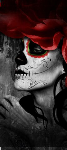 Flor Catrina left - day of the dead art by Digoil, on canvas. digoilrenowned.com Dark Pictures, Pictures To Paint, Dark Pics, Mexican Sugar Skulls, Sugar Skull Girl, Tattoo Shading, Shading Drawing, Dead Makeup, Skull Makeup
