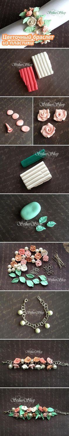 Pulsera de rosas en arcilla polimérica / polymer clay: