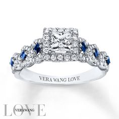 From the Vera Wang LOVE Collection, this captivating engagement ring features a 1/2 carat princess-cut center diamond in a double frame set with smaller accent diamonds. The 14K white gold ring glistens with princess-cut sapphires and shimmering round accent diamonds, completing this exquisite look. With a total diamond weight of 1 carat, the engagement ring is a brilliant beginning to your romantic love story. Diamond Total Carat Weight may range from .95 - 1.11 carats.