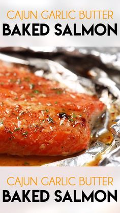 Cajun Garlic Baked Salmon is moist tender and simple to make with easy cleanup You ll love this salmon baked to perfection with a mouthwatering buttery Cajun garlic sauce thesaltymarshmallow seafooddinner cajun Grilled Salmon Recipes, Healthy Salmon Recipes, Fish Recipes, Chicken Recipes, Cajun Recipes, Haitian Recipes, Louisiana Recipes, Donut Recipes, Skin On Salmon Recipes