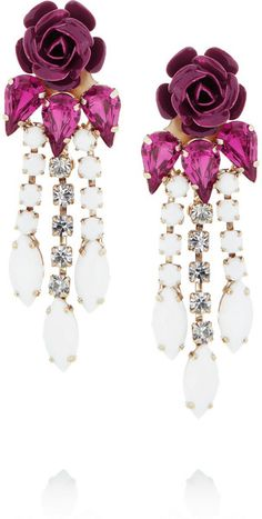 Roberto Cavalli   Swarovski Crystal Flower Clip Earrings - Lyst
