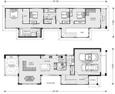 Nelson Bay 294 - Metro, Home Designs in Brisbane North & East Two Storey House Plans, Narrow Lot House Plans, House Floor Plans, Narrow House Designs, Architectural Floor Plans, I Love House, Long House, Duplex House, Storey Homes