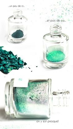 make your own - using old-ground up powdered eyeshadow , add clear nail polish and shake