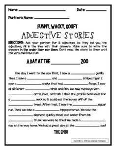 Adjectives: Partner Activity- Fill in Stories- *FREEBIE* older kids use Thesaurus for higher level words Adjective Anchor Chart, Adjective Worksheet, Pronoun Worksheets, Adjectives Activities, Word Work Activities, Writing Activities, 5th Grade Writing, 5th Grade Reading, Learn English Grammar