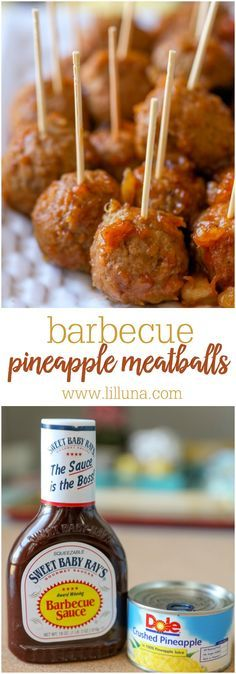 Barbecue Pineapple Meatballs - just 3 ingredients and perfect as an appetizer recipe for parties and get togethers!