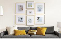 like the arrangement of frames - Room & Board profile frames in Gold