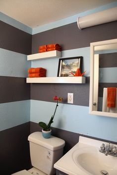 Contemporary Spaces Blue Striped Walls Design, Pictures, Remodel, Decor and Ideas - page 3