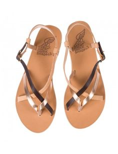 cf38f0685e2 SEMELE Pink gold and natural smooth leather sandals Smooth Leather