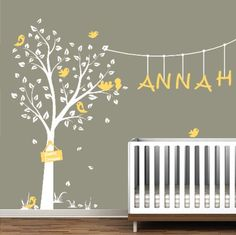 Nursery Tree with Birds and Name  Removable Vinyl by MissBreannes, $82.00