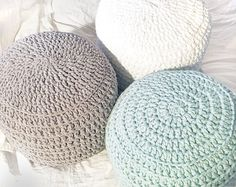 COVER for Pink and Grey Blue Hand Crochet Ottoman by andieshop