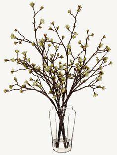 "Good taste WF3394-CR/GR  30""Hx30""Wx30""L Budding Blossom Branch in Vase Cream Green"