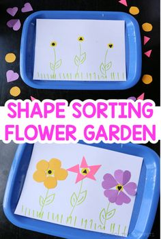 Re-create this sorting shapes activity for your toddler or preschooler to reinforce shape identification and discrimination while creating a spring theme craft! Shape Sort, Spring Theme, Sorting, Preschool, About Me Blog, Shapes, Activities, Kid Garden, Kindergarten