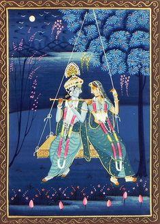 Radha+Krishna+on+a+Swing+(Miniature+Painting+on+Silk+Cloth+-+Unframed)