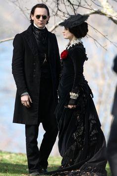 """Tom Hiddleston and Jessica Chastain film scenes for Guillermo del Toro's new movie """"Crimson Peak"""""""