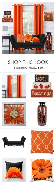 """Color Challange~ Orange&Black"" by aharcaki ❤ liked on Polyvore featuring interior, interiors, interior design, home, home decor, interior decorating, Sun Zero, Sagebrook Home, Barclay Butera and Eichholtz"