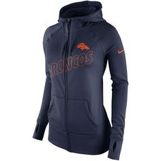 Women's Nike Navy Denver Broncos Stadium Game Day KO Full Zip Performance Hoodie