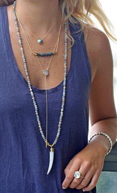 LABRADORITE agate horn necklace
