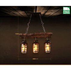 Edison Light Chandelier, Industrial Chandelier, Edison Lighting, Wood Chandelier, Dining Lighting, Rustic Lighting, Chandeliers, Dining Light Fixtures, Ceiling Fan